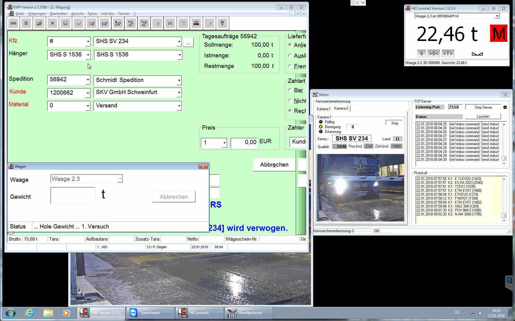 Automatische Verwiegung Screenshot